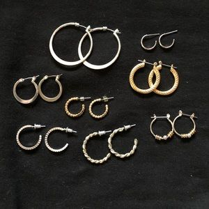 Lot of 8 Pairs of Silver & Gold Earrings